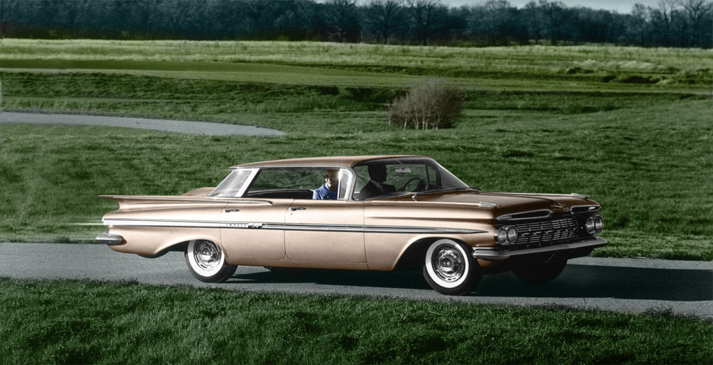 1959 Impala Sport Sedan - transparency scan, colorized