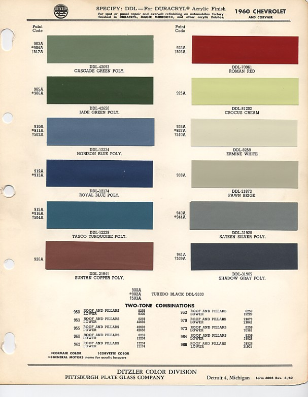 1956 Chevy Truck Paint codes http://www.xframechevy.com/1960-chevrolet-paint-chips/