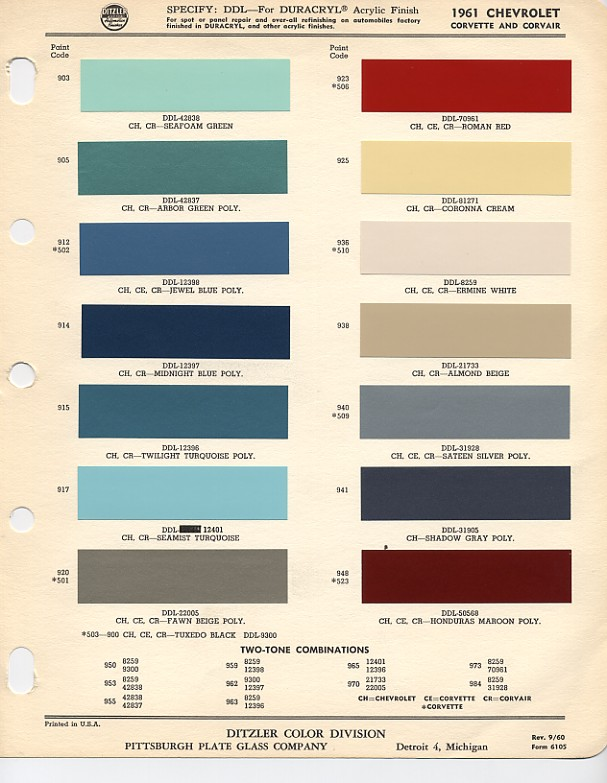 1961 Chevrolet Paint Chips