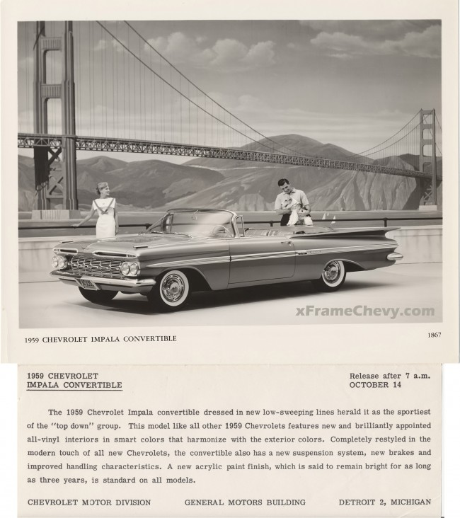 Gm press release photos 1959 impala sport coupe and for Chevrolet division of general motors