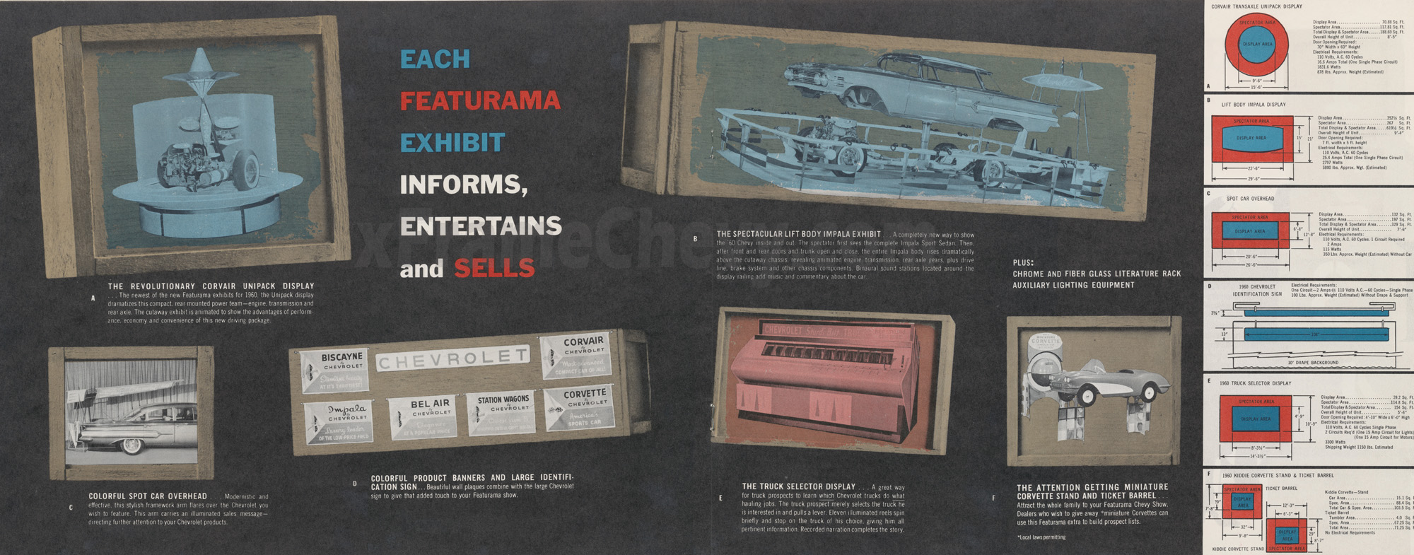 1960 Chevy Featurama brochure - pages 3 and 4