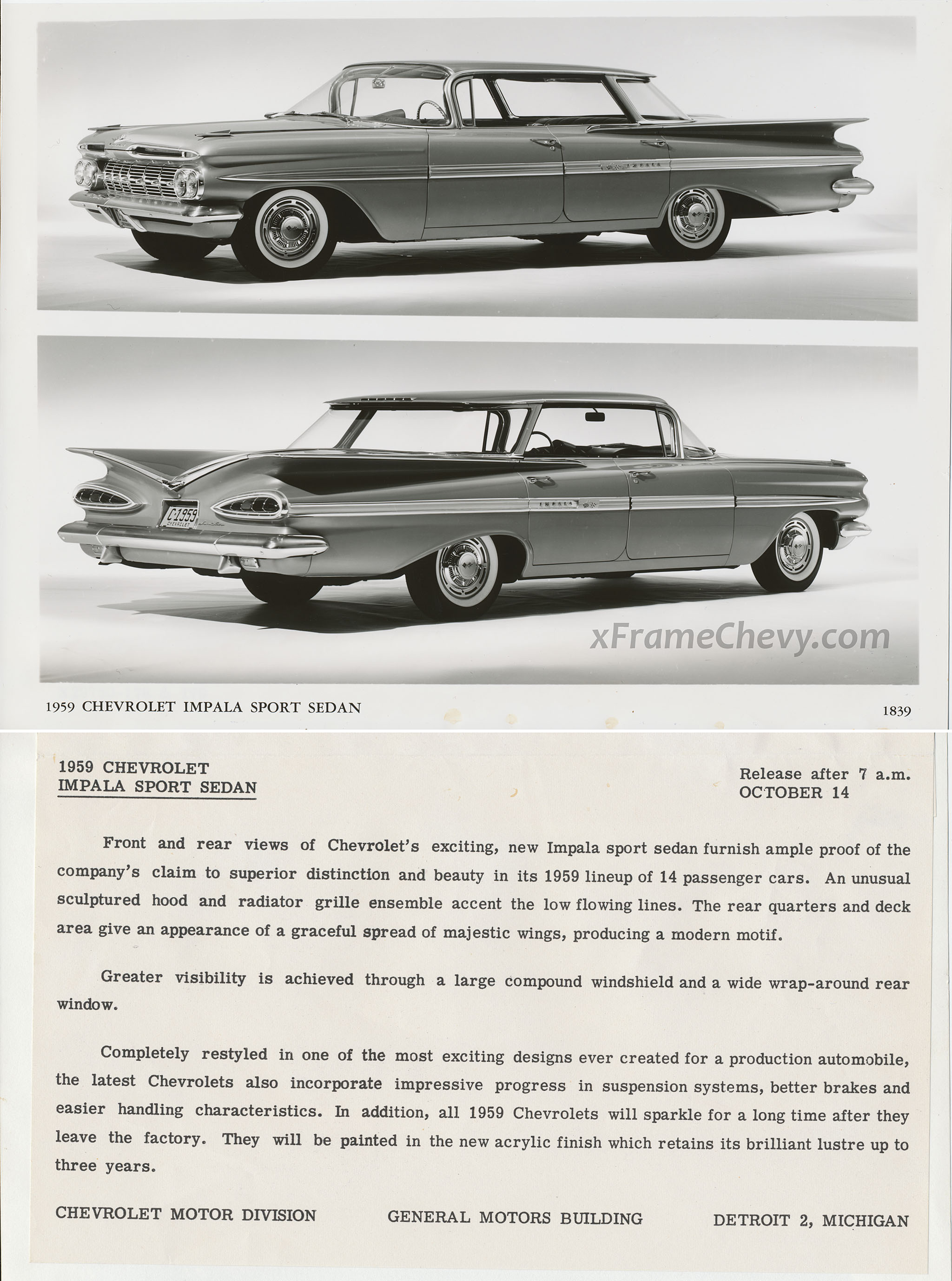 GM Press Release Photo - 1959 Chevrolet Impala Sport Sedan