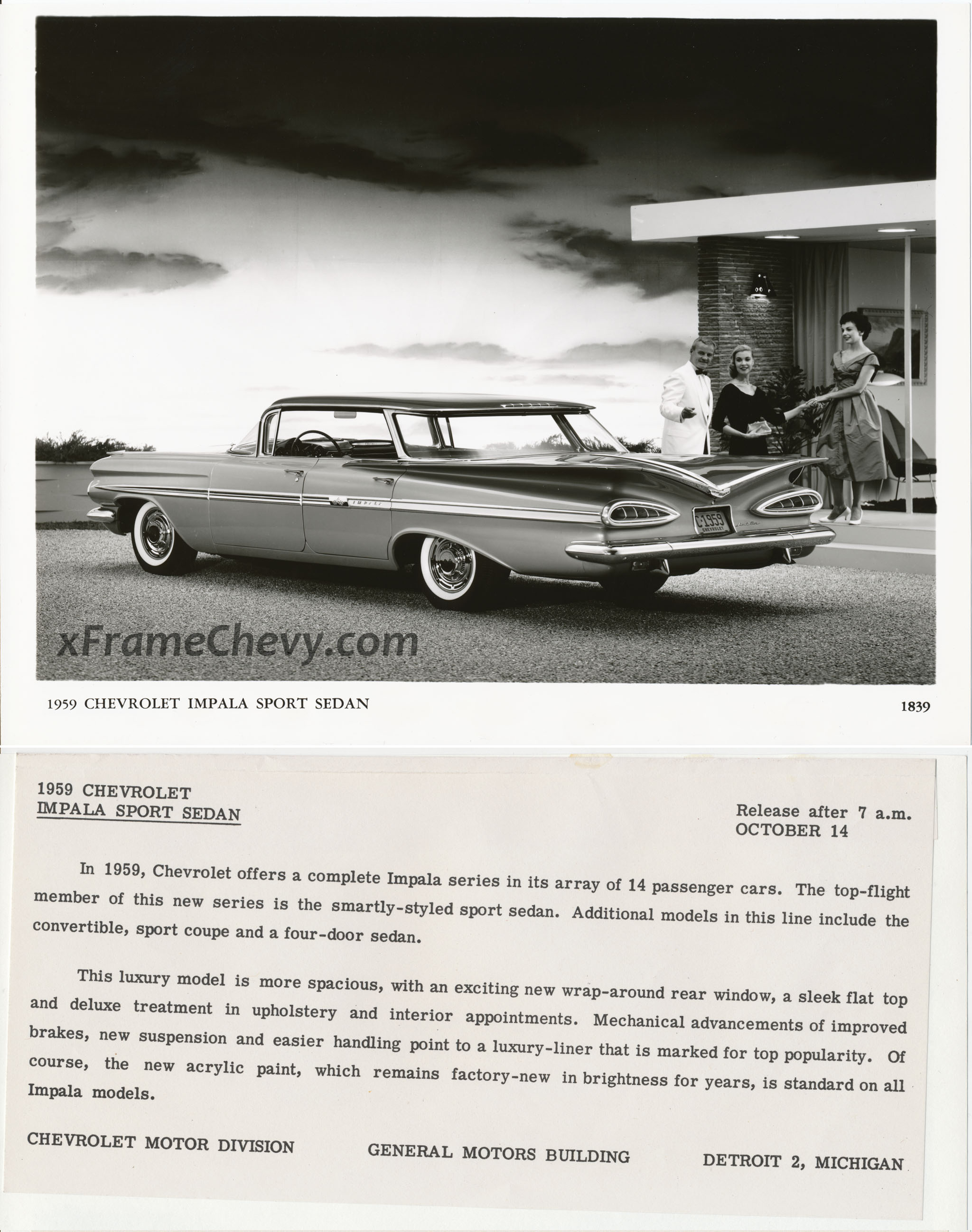 Gm press release photo 1959 chevrolet impala sport sedan for Chevrolet division of general motors