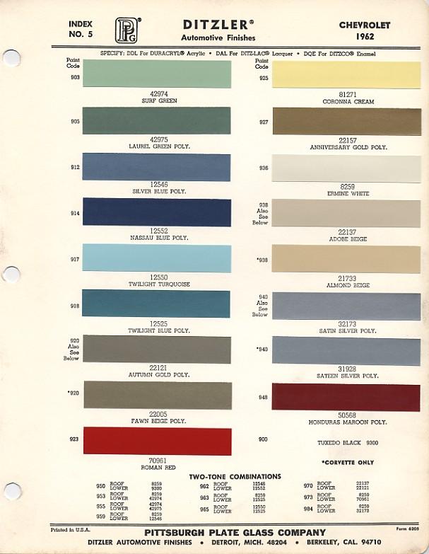 1962 Chevrolet Paint Chips